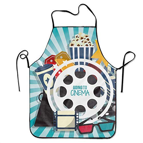 ERCGY 2019 Apron Basic Kitchen Chef's Apron, Cinema Concept Print (De Halloween 2019 Cinema)