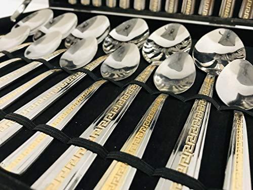 Deko-König 24 teiliges Medusa Besteck Koffer Edelstahl Besteckkoffer Set mit Mäander Gold Verzierung