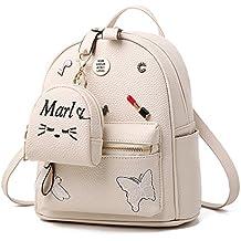 Flada niñas mochila PU cuero escuela bolsas mochila lindo Bookbag monedero con la pequeña cartera de