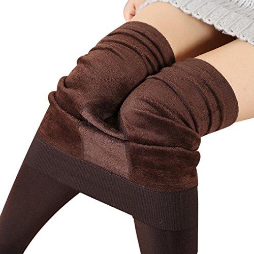 Leggings Sexy, Reasoncool Le donne inverno spesso caldo pile foderato elastiche delle ghette termiche pantaloni (Lunghezza: 93 cm, Caffè)