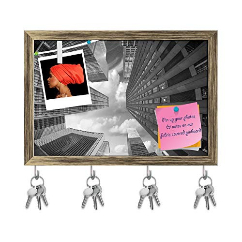 ArtzFolio City Skyscrapers In A Fisheye Upward Street View Key Holder Hooks | Notice Pin Board | Antique Golden Frame 11.6 X 8Inch Fisheye-pin
