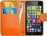 G-Shield Hülle für Microsoft Lumia 535 Klapphülle mit Kartenfach und Magnetverschluß Kunstleder mit Displayschutzfolie und Stylus - Orange