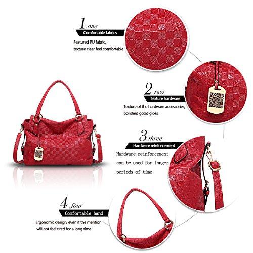b6c51382b8859 ... Tisdaini Neue Damen Handtasche Retro-Normallack Mode Muster weichen  Tasche Schulter Messenger Bag Handtaschen rot ...