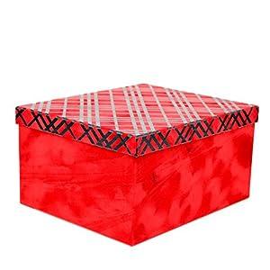 Gifts 4 All Occasions Limited SHATCHI-1302 - Cajas de almacenamiento con tapa de Shatchi (10 unidades, hechas a mano, decoración del hogar, regalos de Navidad, suministros para fiestas), color rojo