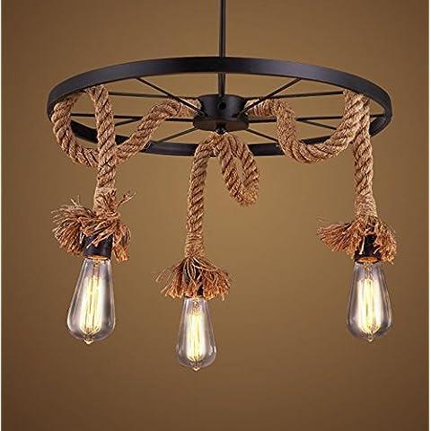 Vintage funi metalliche 3WheelShaped luci lampadario pendente