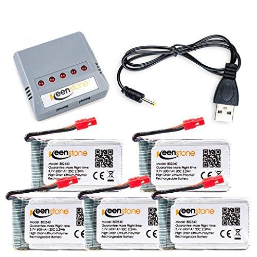 Keenstone 5pcs 3.7V 600mAh 20C litio bateria + 1 PCS cargador para...