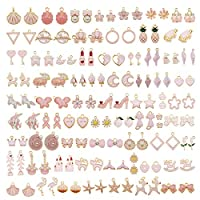 60Pcs 30 Pairs Mixed Enamel Pink Theme Charms Pendants for Jewelry Making Bulk lot Necklace Earrings Bracelet Craft Findings