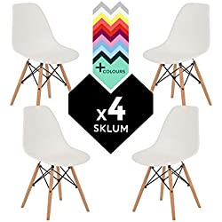 SILLA EAMES DSW (Pack 4) - SILLA TOWER WOOD Blanco - (Elige Color) SKLUM
