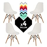 SILLA EAMES DSW (Pack 4) - SILLA TOWER WOOD Blanco Madera Natural- (Elige Color) SKLUM