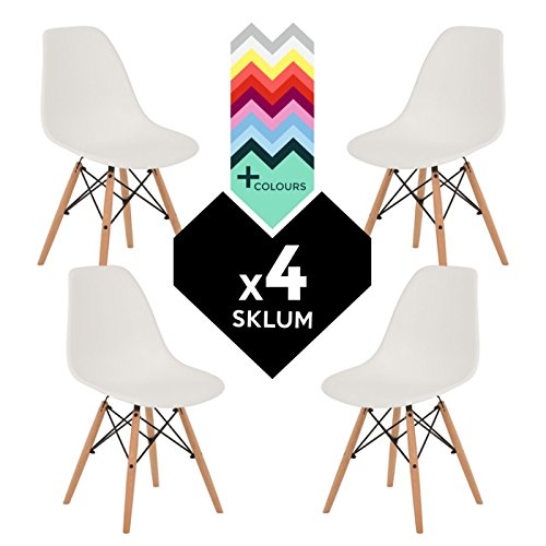 SKLUM Pack 4 Sillas Estilo Nórdico IMS Blanco Madera Natural