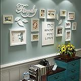 Zuiξaoyao Bilderrahmen Collage Brief pastoralen schlafzimmer wohnzimmer massivholz kreative kreative foto wand ornament rahmen wand Fotorahmenwand ( Farbe : Blau und weiß ) , Weiß