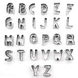 Ertek Set aus Edelstahl, 26Stück, Ausstecher, Buchstaben und Zahlen, Backform für Kuchen Letters&numbers Cookie Cutter