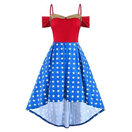 Junjie Mode Frauen amerikanische Flagge gedruckt offene Schulter Bikini Damen Set Push up high Waist Grosse grössen hoch niedrig Cami Plus Size Kleid Navy, rot, blau, weiß