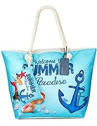 Große Wasserdicht Strandtasche mit Reissverschluss, ZWOOS Damen Shopping Shopper Tasche Reisetasche Canvas Schultertasche für Reise, Kaufen, Ausflug usw.