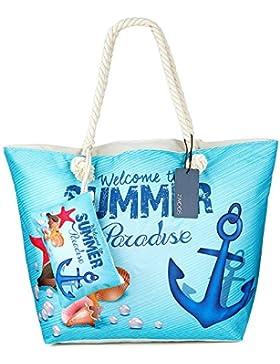 Große Wasserdicht Strandtasche mit Reissverschluss, ZWOOS Damen Shopping Shopper Tasche Reisetasche Canvas Schultertasche...