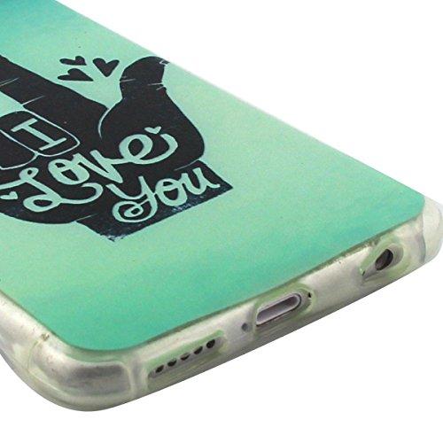 Custodia iPhone 6 Plus, iPhone 6S Plus Cover Glitter, SainCat Cover per iPhone 6/6S Plus Custodia Silicone Morbido, Custodia Bling Glitter 3D Design Transparent Silicone Case Ultra Slim Sottile Morbid Ti Amo Gesto