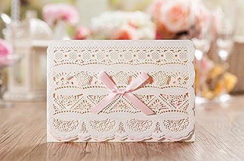 15x Pink Romantisches Spitze Laser Schnitt Hochzeit Einladung Karten, inkl. passender Umschlag/Einsatz-Dichtung