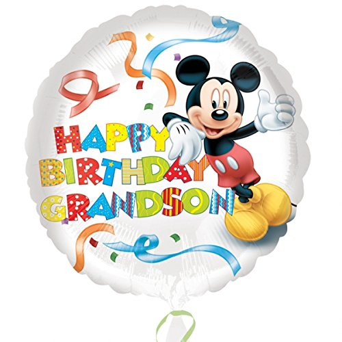 Amscan Mickey Mouse Happy Birthday Grandson Standard HX Foil Balloons (Mickey Halloween-dekoration)