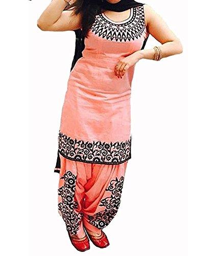 M K Fashion Women\'s Embroidered Cotton Orange Semi stitched Patiala Salwar Suit with dupatta