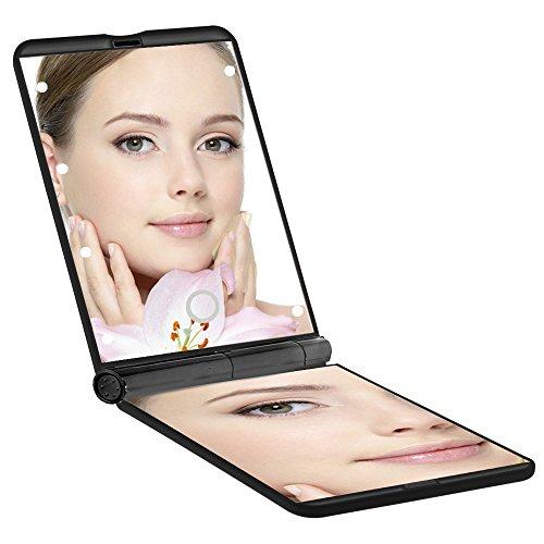 Taschenspiegel Bright, Falt- und Beweglicher Verfassungs-Spiegel, 8 LEDs, 1x und 2x Vergrößerung, Verstellbares Licht, Berühren.Unodeco U014