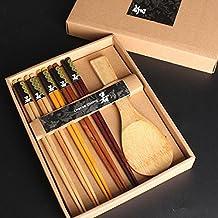 STRIR variedad hecha a mano japonesa madera natural palillos cuchara establece valor regalo(5 pares