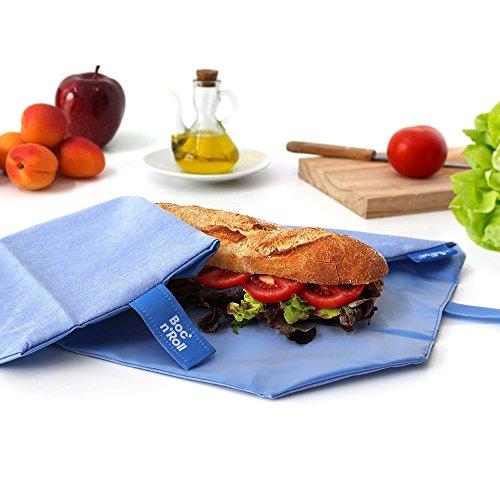 Roll 'eat BOC' n 'Roll, Eco, Porta Sandwiches wiederverwendbar, Tasche Lunchtasche, Sprechblase, BPA-frei, blau