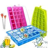 TedGem Silikon Eiswürfelform, 3 Stück Eiswürfel Silikonformen, Eiswürfelbereiter Ice Tray Ice Cube 24 Fach Eiswürfel Box Eiswürfelschale LFGB Zertifiziert
