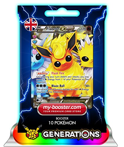 FLAREON EX (Pyroli) Full Art RC28/RC32 170HP XY Generations - Booster de 10 cartes Pokemon anglaises my-booster