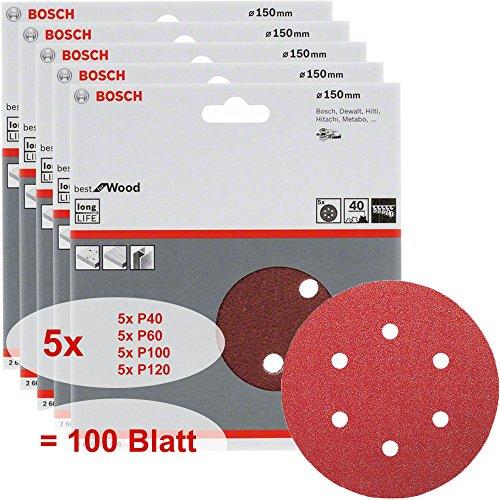 Preisvergleich Produktbild Bosch Schleifblatt Set Best for Wood 100 Stück Körnungen P40 + P60 + P100 + P120, 6 Löcher, Klett, 150 mm
