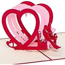 """Hochzeitskarte """"Pärchen auf Bank - 3 Herzen"""" 3D Pop up, handgefertigt, Karte zur Hochzeit, Hochzeitstag, Liebe, Glückwunschkarte Liebe, Karte zur Verlobung, Hochzeitseinladung"""