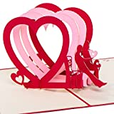 """Karte zum Valentinstag, Valentinstagskarte, Hochzeitskarte """"Pärchen auf Bank - 3 Herzen"""" 3D Pop up, handgefertigt, Karte, Liebe, Glückwunschkarte Liebe, Karte zur Verlobung"""