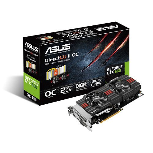 Asus GeForce GTX 660 DirectCU II OC Nvidia Graphics Card (2GB GDDR5, PCI Express 3.0, HDMI, DVI-I, DVI-D, DisplayPort, Nvidia 3D Vision Surround Ready, SLI Support)