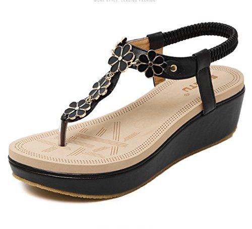 ZHZNVX Bohemian Beach Diamant Offene Zehe Mode Joker Einfacher Druck Keil Toe Sandalen Schuhe, Schwarz, 39 (Flops Bridal Flip Keil)