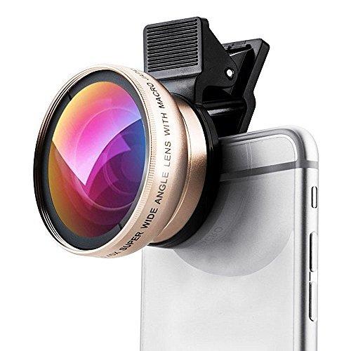 DDJ Fisheye Lens Kit mit 0,45 × Super-Weitwinkel-Objektiv + 12,5 × Super-Makro-Objektiv für iPhone 4 / 4s / 5 / 5s / 6 / 6S, Galaxy (Gold)