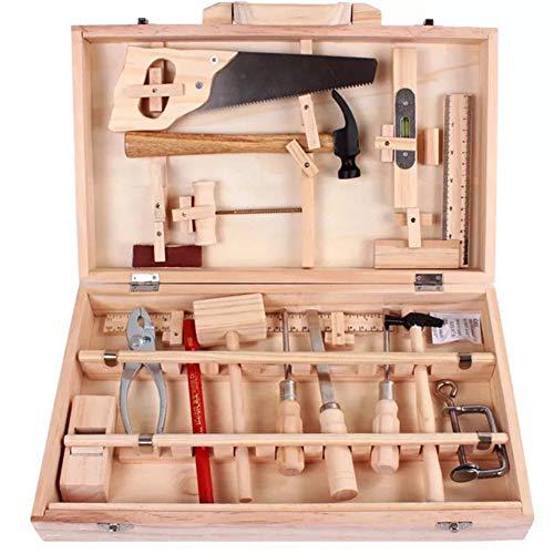 Egleson Deluxe Werkzeugschrank Holz mit Zubehör für Kleine Handwerker Klappbare Werkzeugkasten...