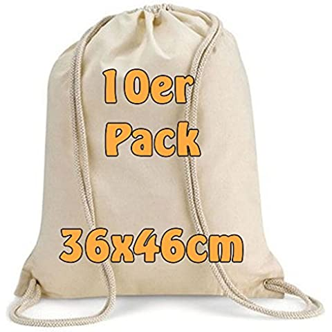 Moderno Turn sacchetto tessuto di cotone Zaino bustine con coulisse naturale 36x 46cm 10bustine