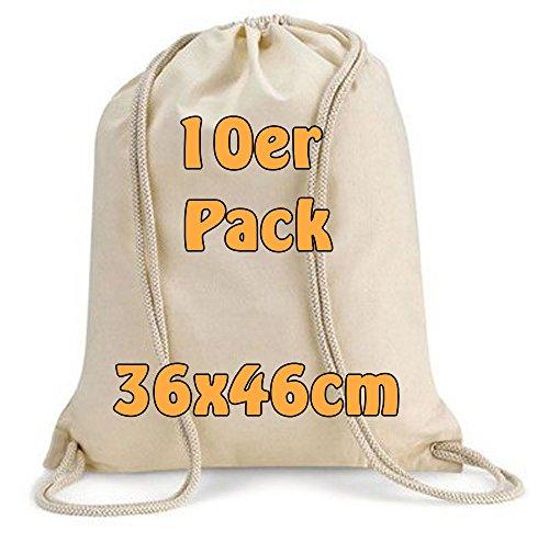 Imagen de modera  de deporte, 10bolsas, bolsa de tela de algodón con cordón, color natural, 36x 46cm