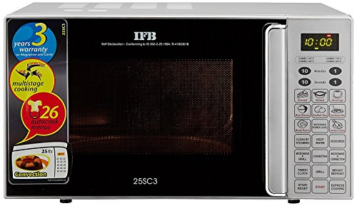 IFB 25SC3 25-Litre 1400-Watt Convection Microwave Oven (Metallic Silver)