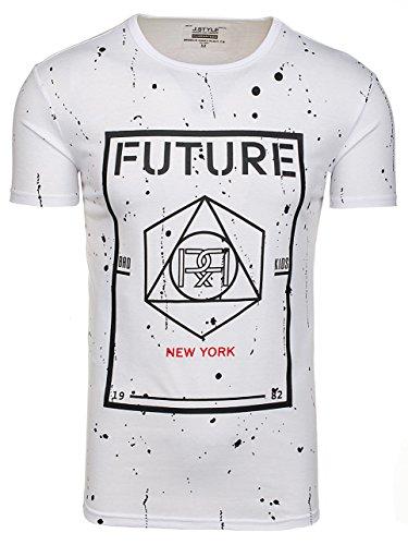 BOLF Herren T-Shirt Kurzarm Rundhals Party Classic Aufdruck Slim fit 3C3 Motiv Weiß