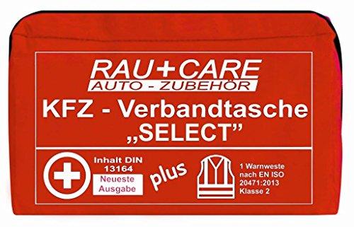 RAU EH0001 Kfz-Verbandtasche, Inhalt Nach Din 13164 (Neueste Ausgabe) mit Warnweste En20417, Rot