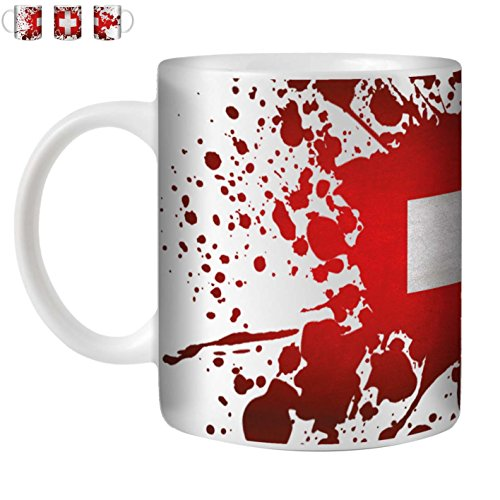 STUFF4 Tee/Kaffee Becher 350ml/Schweiz/Flagge Splat Land/Weißkeramik/ST10