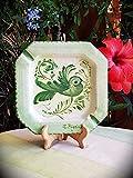 Posacenere in ceramica siciliana. Posacenere da tavolo decorato a mano con uccellino. Regalo. Posacenere effetto antico. Le ceramiche di Ketty Messina.