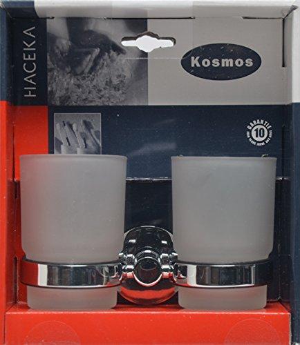 Haceka Kosmos Chrome Soporte Vaso Doble, Metal, Gris, 7.5x16.3x9.6 cm