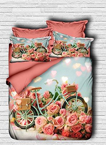 lamodahome 3PCS Luxus, Bettbezug Set [Bettbezug und Kissenbezug (Seitenfenster 100% Polyester Microsatin Micofaser) (Unterseite 100% Baumwolle)] Pink Rose blau Bycycle Beutel Karton Herzen Romantische (Baumwolle Twin-size-bett In Einem Beutel)