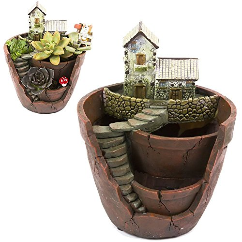 Xueliee Creative Plants Pot Flower Plants Succulent DIY Container Decorated with Mini Hanging Fairy Garden and Sweet House for Holiday Decoration and Gift (A1) -