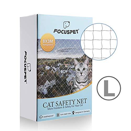 Focuspet Rete Protettiva per Gatti, Rete di Sicurezza per Animali in Balconi e Finestre Rete per Balconi Griglia di Protezione Trasparente 3X8M
