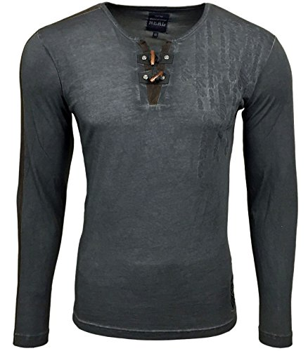 RUSTY NEAL Herren Langarm Longsleeve Kurzarm T-Shirt RN-10115 Anthrazit
