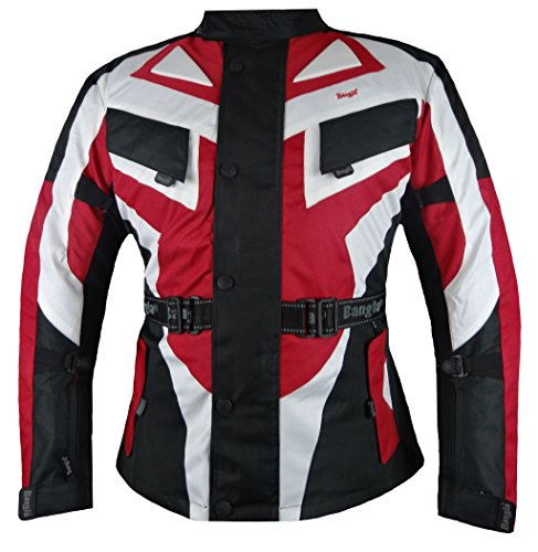 Bangla 1535 Kinder Motorradjacke Motorrad Jacke Textil Schwarz Rot Weiss Gr. 152
