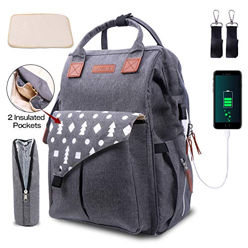 Umitive Baby Wickelrucksack, Wickeltasche Rucksack Multifunktional mit USB für Reisen, Große Kapazität, Senden 2 Kinderwagengurte 1Wickelunterlage 1 Isolierte Tasche, Wasserdichte, Grau