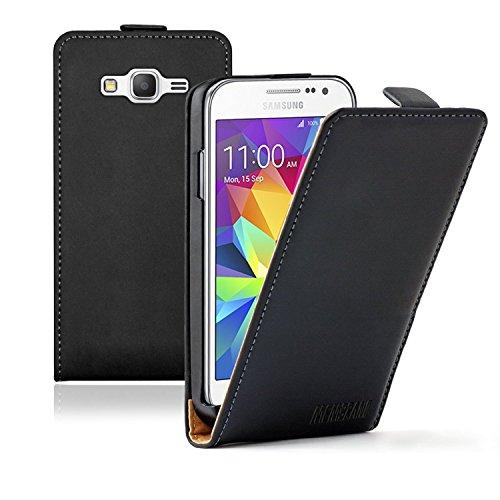 Samsung 2 Galaxy Core Etui (Membrane - Ultra Slim Schwarz Klapptasche Hülle Samsung Galaxy Core Prime (SM-G360F) - Flip Case Cover Schutzhülle + 2 Displayschutzfolien)